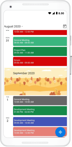 Schedule view month header builder