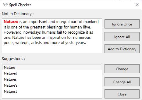 Spell Checking via Dialog Box
