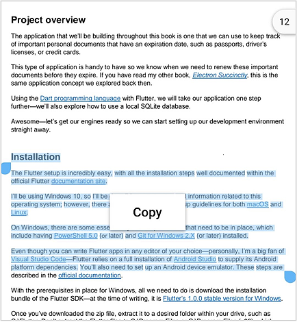Text Selection in Flutter PDF Viewer