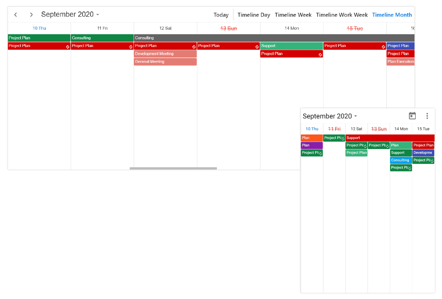 Timeline month view