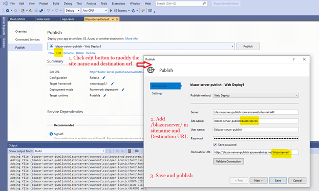 Click Save. Then select Publish to launch the application in the specified subfolder