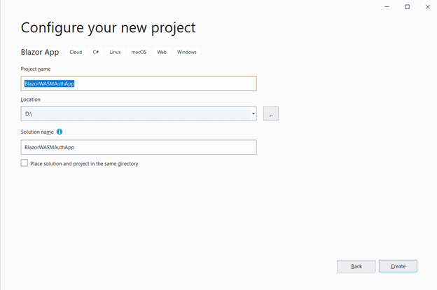 Enter your project name and click Create