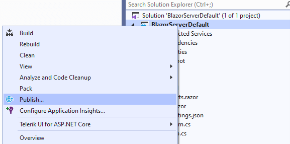 Right-click on the project and click Publish in the context menu
