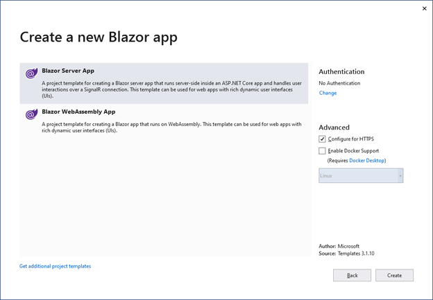 Select Blazor Server App and click Create to complete the application creation