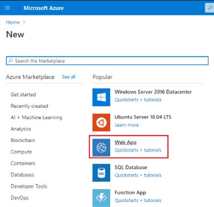 Select Web App Azure application service