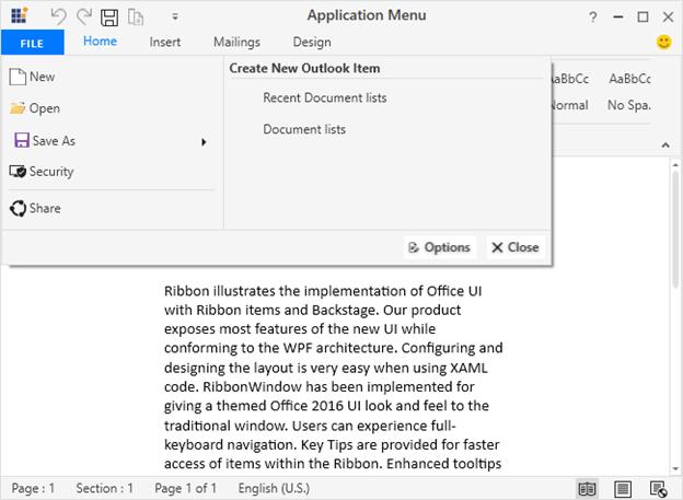 Application menu in WPF Ribbon