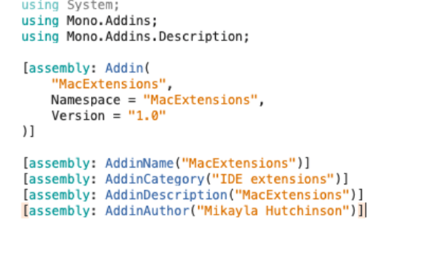 Change the MacExtensions name and version details after creating the entire project in the AddinInfo.cs file