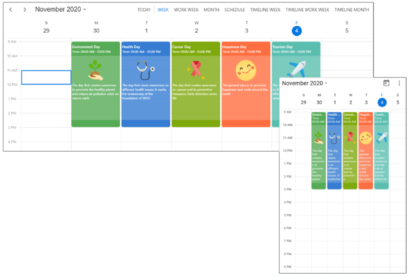 Custom UI design for events, appointments, and special time region