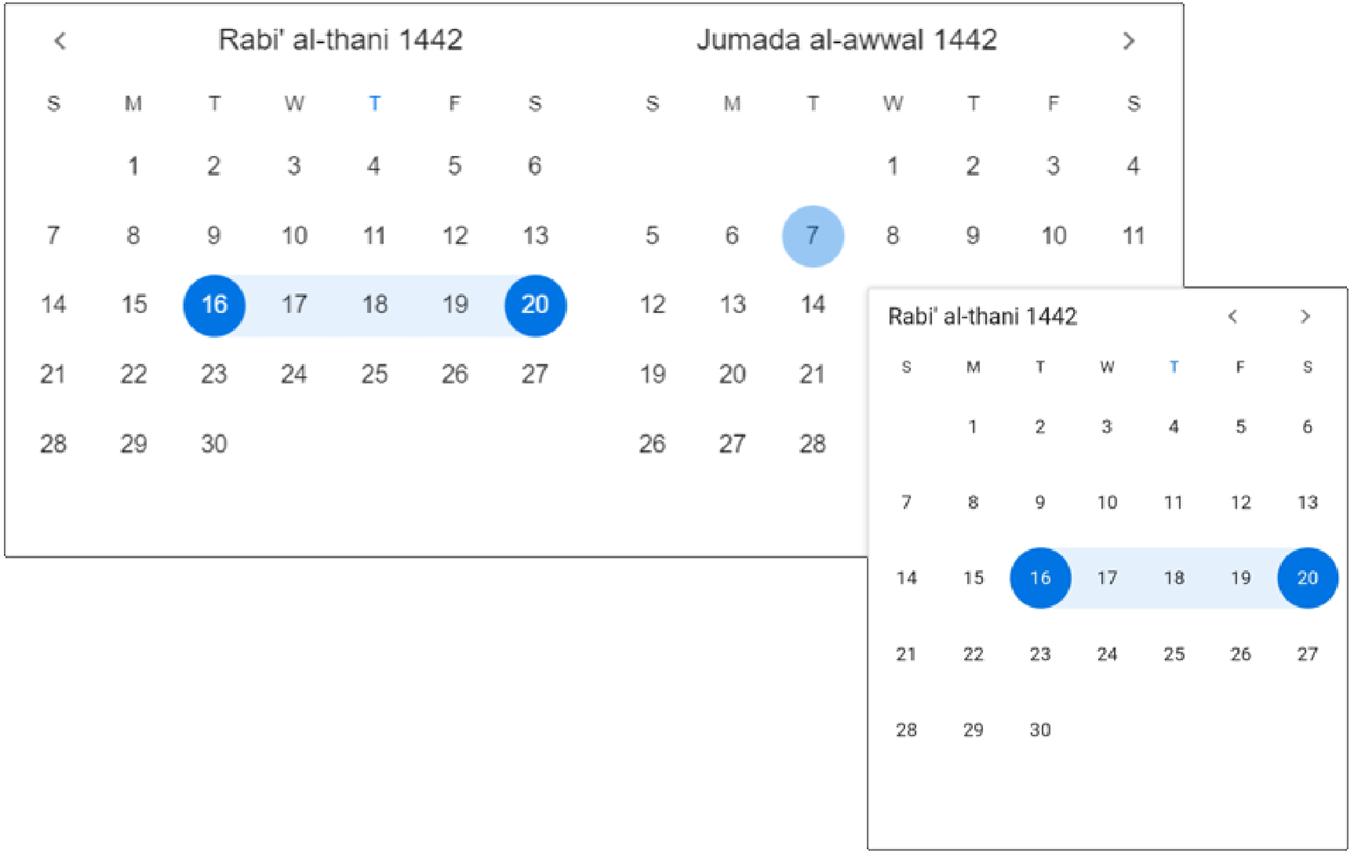 Hijiri calendar in Flutter Date Range Picker