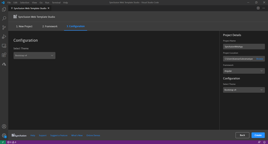 In the Configuration tab, choose the theme, and then click Create