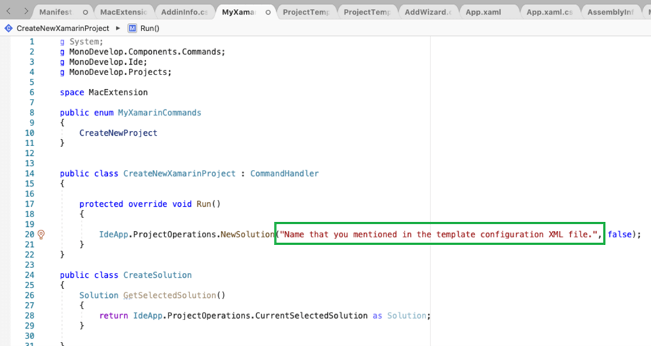In the Run method, provide the Name that you mentioned in the template configuration XML file in the bracket