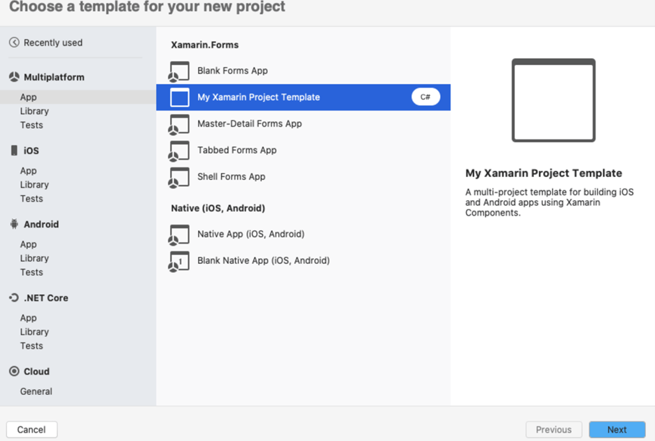 In the project template wizard, you can find the template My Xamarin Project Template under Multiplatform > App