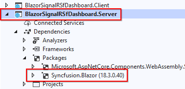 Install the Syncfusion.Blazor NuGet package in the server project