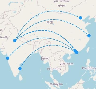 Navigation route drawn using arcs