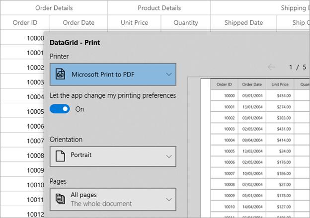 Print Option in WinUI DataGrid