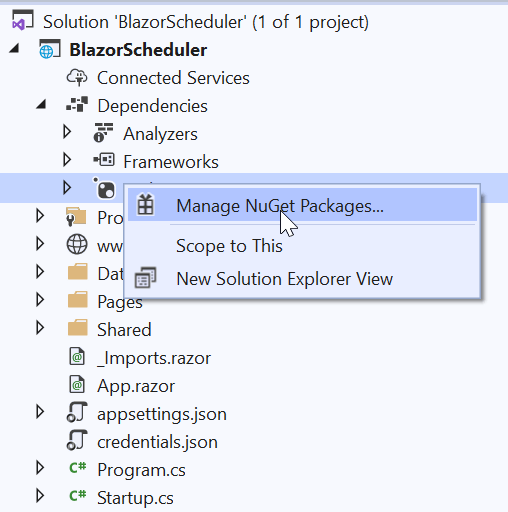 Right-click on Dependencies and select Manage NuGet Packages.