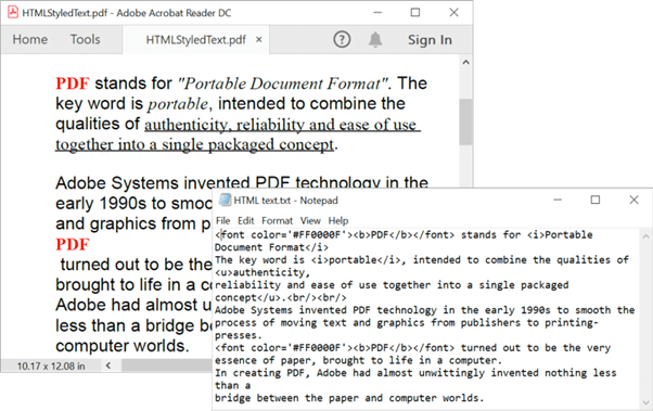 Styling PDF Document Text with HTML