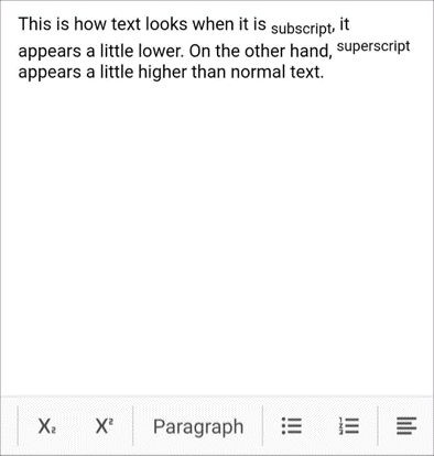 Superscript and subscript support in Rich Text Editor