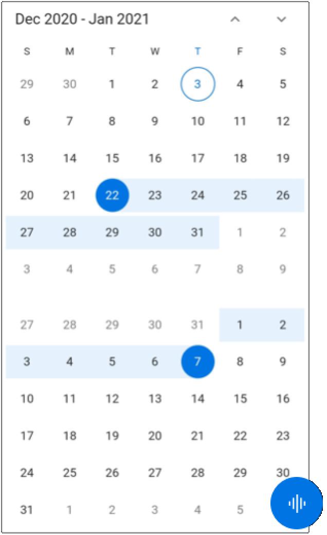 Vertically stacked Calendar views