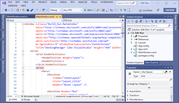 Visual Studio in Edit Mode