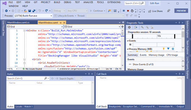 Visual Studio in Run Mode
