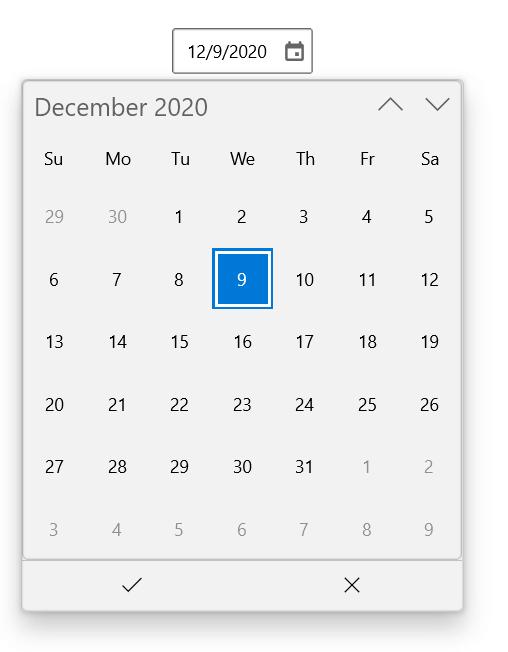 WinUI Calendar DatePicker
