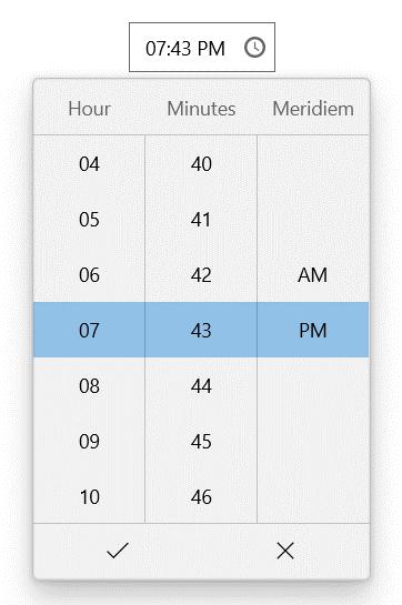 WinUI TimePicker