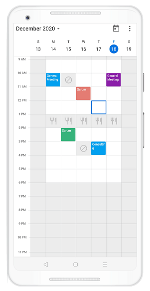 Custom Time Region View in Flutter Event Calendar