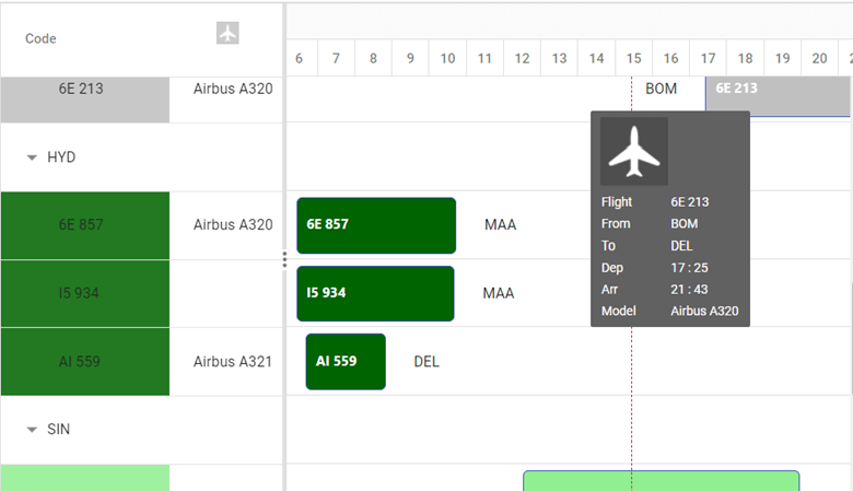 Detailed view of the flight tracker application