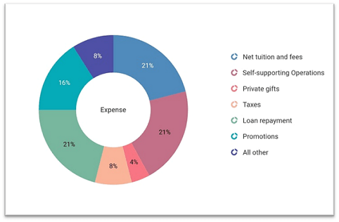 Doughnut chart showing the expense percentages from various categories.
