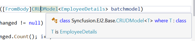 The modal object class CRUDModal is referenced from the library using Syncfusion.EJ2.Base