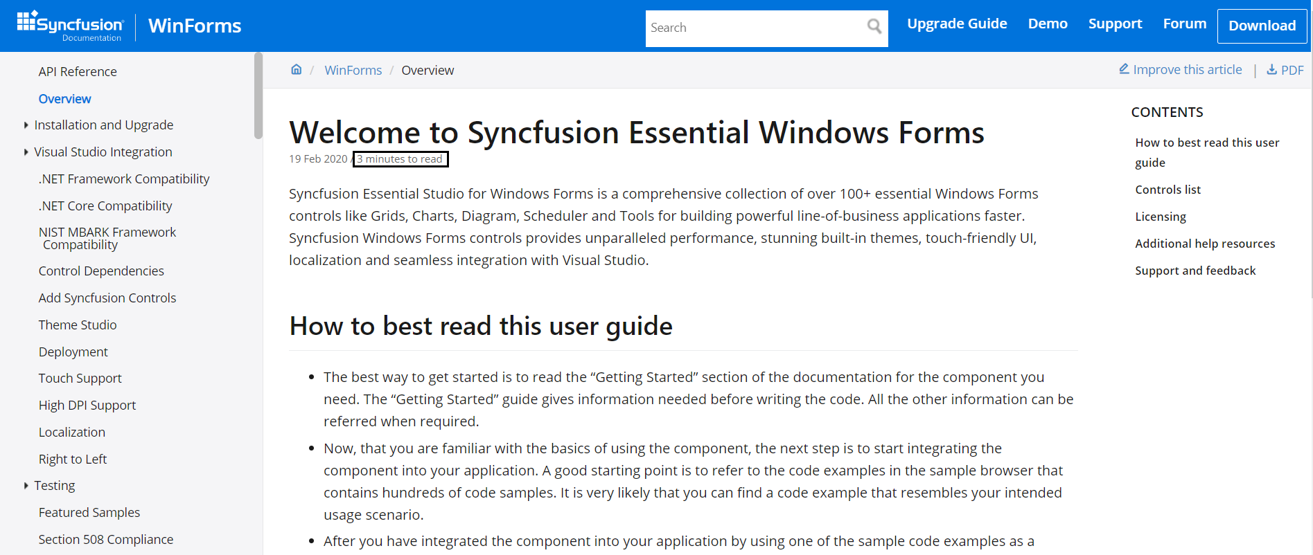 Time to read the article in Syncfusion UG documentation