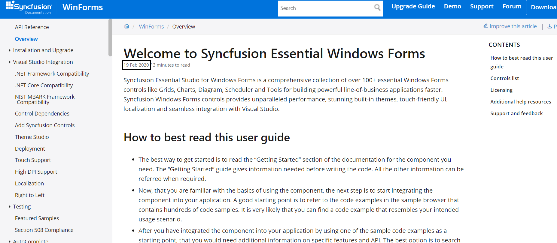 Updated date in Syncfusion UG documentation
