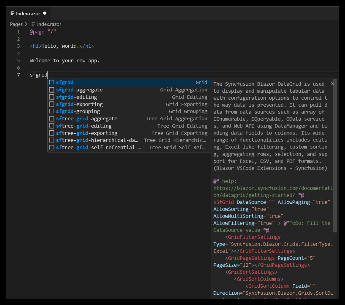 Blazor Code Snippets for DataGrid in Visual Studio Code