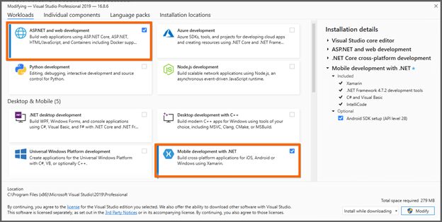 Choose ASP.NET and web development and Mobile development with .NET workloads in Visual Studio
