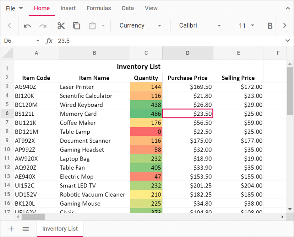 Color scale applied to the Quantity column in JavaScript Spreadsheet
