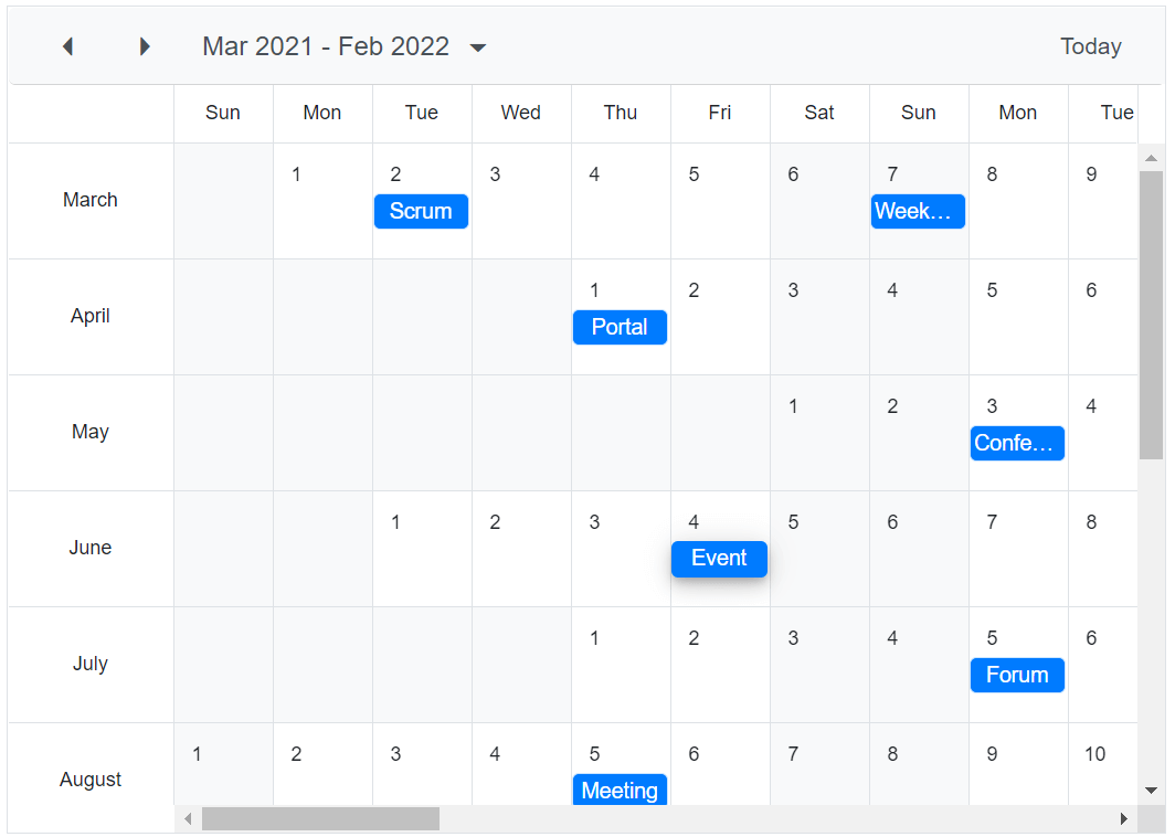 Customizating first month of the year in Blazor Scheduler