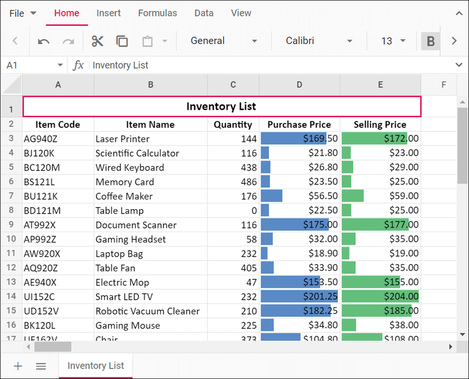 Data bars applied to the Purchase Price and Selling Price columns in JavaScript Spreadsheet