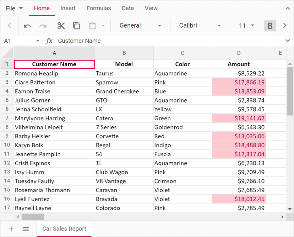 Highlighting Cell values greater than 10,000 in the Amount column in JavaScript Spreadsheet