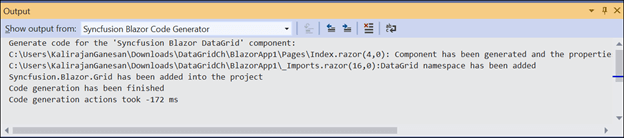 Output window showing the changes made by the Syncfusion Blazor Code Generator