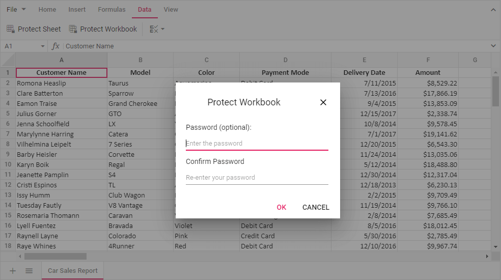 Password protection for workbook