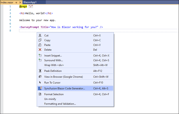 Select the Syncfusion Blazor Code Generator from the menu