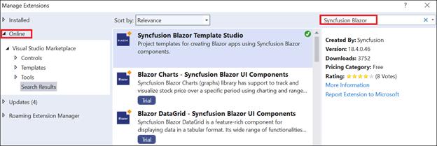 Select the Syncfusion Blazor Template Studio extension