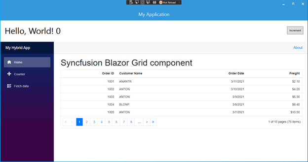 Syncfusion Blazor Grid rendered on windows desktop