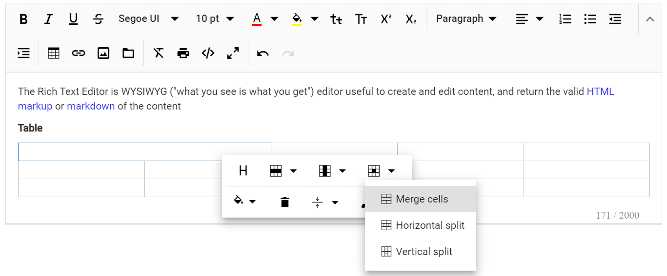 Table cell merge and split feature in JavaScript Rich Text Editor