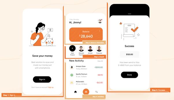 Three screens in replicating Banking Exploration UI in Xamarin