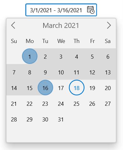 WinUI Calendar DateRangePicker
