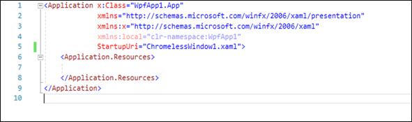 Change the StartupUri attribute value to the ChromelessWindow1.xaml