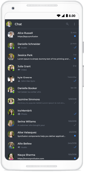 Chat page in dark theme