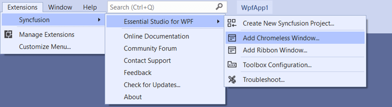 Navigate to Extensions ->Syncfusion-> Essential Studio for WPF > Add Chromeless or Ribbon Window